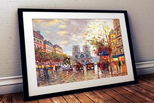 antoine blanchard, vista de notre dame, quadro de paris, gravura de paris, poster de paris, replica, reprodução, canvas, tela