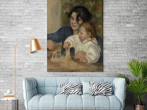 Renoir,Mãe e Criança,Jean e Gabrielle,quadro,poster, gravura, replica, reprodução, canvas