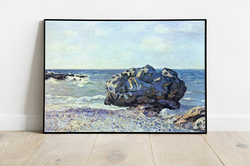 alfred sisley, Bay, of, longland, with, rock, baia, de, longland, com, rocha, pedra, quadro, poster, replica, canvas, gravura