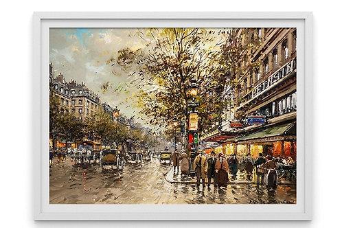 antoine blanchard, boulevard, quadro de paris, cidade, paris, quadro, poster, replica, gravura, reprodução, canvas, tela