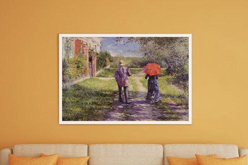 Gustave Caillebotte, Rua em Aclive, Rising Road, 1881,quadro, poster, replica, canvas, gravura, reprodução,tela,fototela