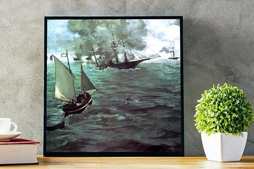 edouard, manet, A Batalha do Kearsarge e do Alabama, quadro, reprodução, poster, canvas, gravura, replica, fototela, tela