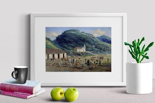 Benedito Calixto, Rancho Grande dos Tropeiros,Santos, quadro, poster, gravura,replica,canvas,reprodução,tela,fotela,pintura