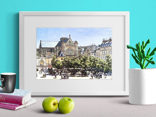 monet, Saint Germain l'Auxerrois, Paris,quadro, poster, replica,canvas,tela,fototela,pintura,gravura,reprodução,fine art