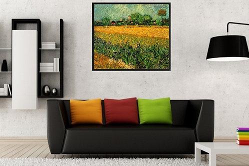 van gogh, Vista de Arles com Lírios, campo de iris perto de arles, campo de lírios, trigo, arles, poster, gravura, reprodução