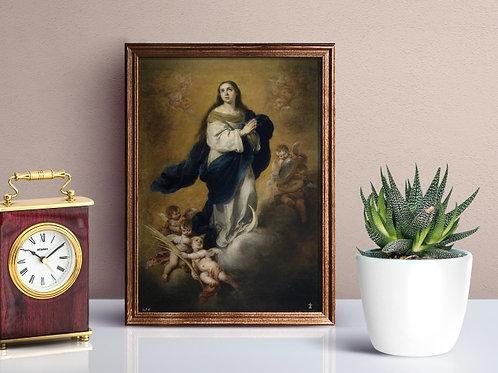 Murillo, Imaculada Conceição, religioso, anjos,santa,poster, gravura, reprodução, canvas, replica, fototela,tela,pintura