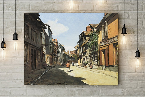 claude monet, Rua da Bavole, Honfleur, Street of Bavole, quadro, poster, replica, canvas, reprodução