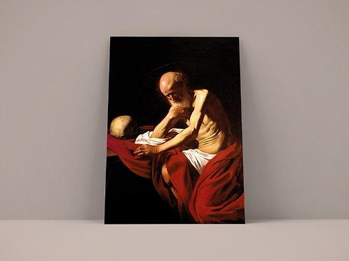 caravaggio, São Jeronimo penitente, quadro, poster, replica, canvas, gravura, reprodução, tela, releitura