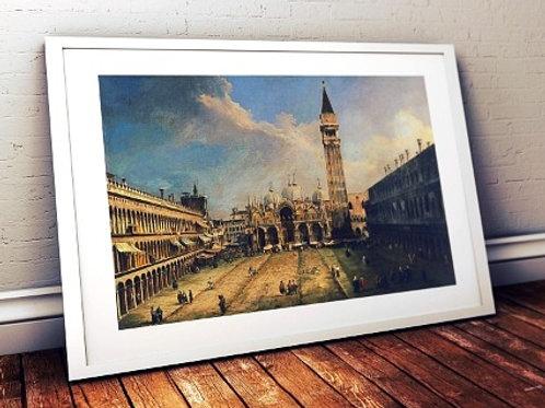 canaletto, Praça São Marcos, Piazza San Marco, quadro, poster, gravura, reprodução, replica, canvas, tela, pintura