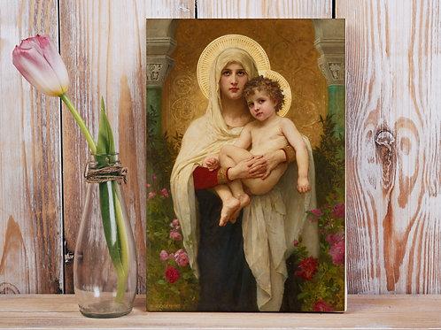 Bouguereau,A Madonna das Rosas,quadro,reprodução,poster,canvas,gravura,replica,fototela,tela,pintura,releitura