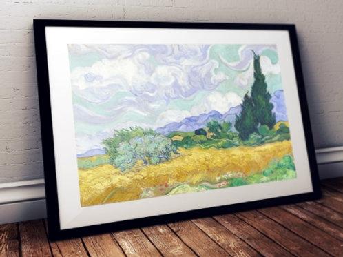 van gogh Campo de Trigo com Ciprestes, van gogh, Campo de Trigo com Ciprestes, Wheat Field with Cypresse