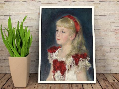 Renoir,Menina com uma Fita Vermelha,quadro,poster,gravura,replica,reprodução,canvas,fototela,tela,pintura