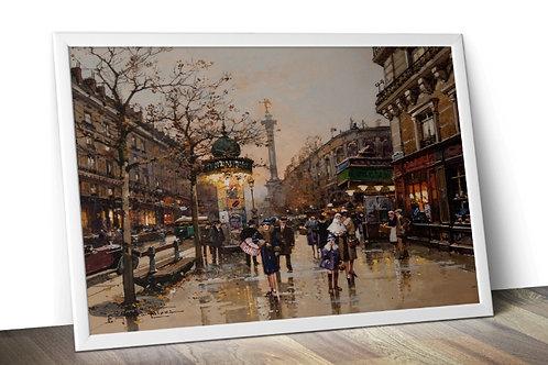 Eugène Galien-Laloue, ruas, Paris, quadro, poster, replica, canvas, gravura, reprodução, tela, fototela