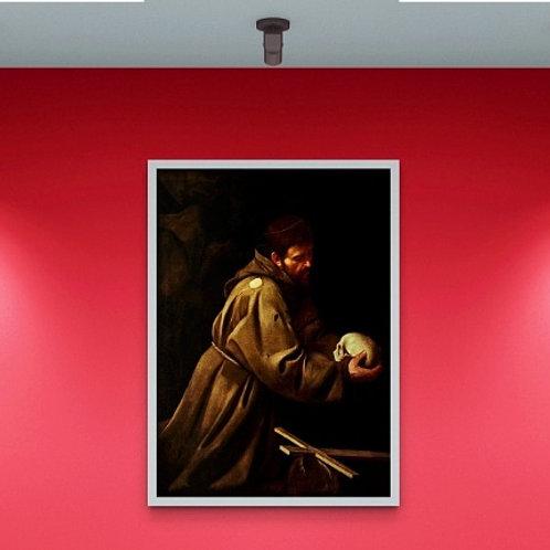 caravaggio, São Francisco em oração, quadro, poster, replica, canvas, gravura, reprodução, tela, releitura