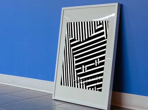 Quadro,3d, Poster,Gravura,Op Art,Arte Ótica, ilusão ótica, Minimalista, Canvas, branco, preto, abstrato, decorativo, fototela