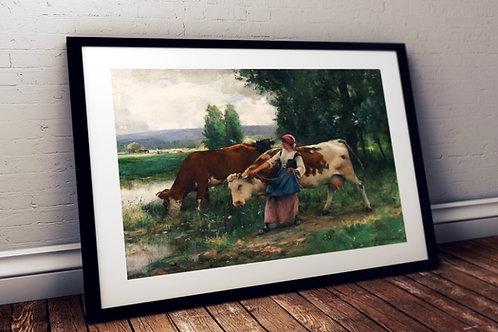 Julien Dupré, Camponesa, Vacas,quadro, poster, replica, canvas, gravura, reprodução, tela, releitura, fototela