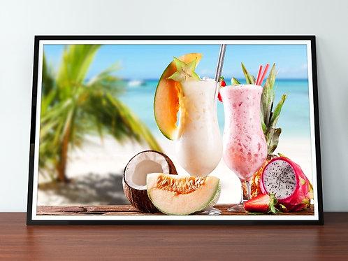 quadro,poster,gravura,canvas,foto,tela,fotografia,cozinha,Alimento,Coquetel de Frutas,coco,Praia,sala,jantar,varanda gourmet