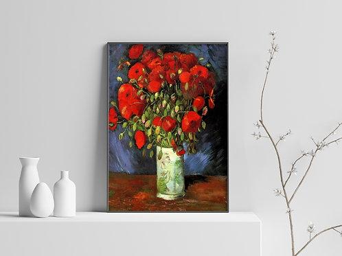 van gogh,Vaso com Papoulas Vermelhas,poster,gravura,reprodução,canvas,replica,fototela,tela,pintura