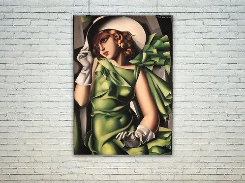 Tamara Lempika,garota,jovem,verde,luvas,Garota de verde,quadro,canvas,poster,replica,gravura,reprodução,fototela,tela,pintura
