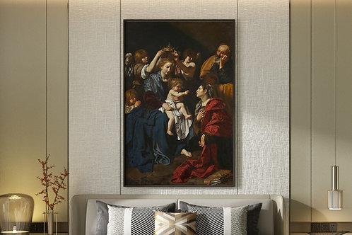 Bartolomeo Cavarozzi,Sagrada Família com Santa Catarina,religioso,quadro, canvas, poster,replica,gravura,reprodução,tela,fine
