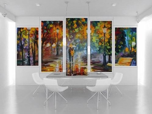 leonid afremov, casal na chuva, conjunto de quadros, quadros decorativos, quadros modernos,quadros para sala,de estar,jantar