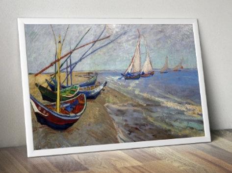 vincent, van gogh, Barcos de pesca na praia no Saintes-Maries-de-la-Mer, 1888, Fishing Boats at Saintes-Maries-de-la-Mer