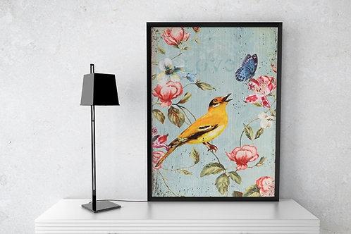 Pássaro com Borboleta,decorativo,sala,estar,jantar,quadro decorativo,quadro,poster,gravura,canvas,replica,reprodução,fototela