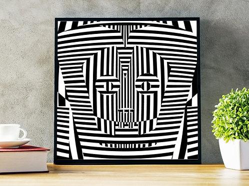 Quadro, Poster, Gravura,3d,Op Art,Arte Ótica,ilusão ótica, Minimalista, Canvas, branco, preto, abstrato, decorativo, fototela