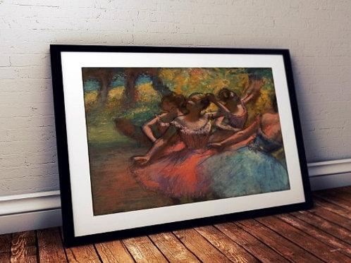 edgar degas, Quatro Bailarinas em Cena, quadro, poster, gravura, reprodução, canvas, replica, tela