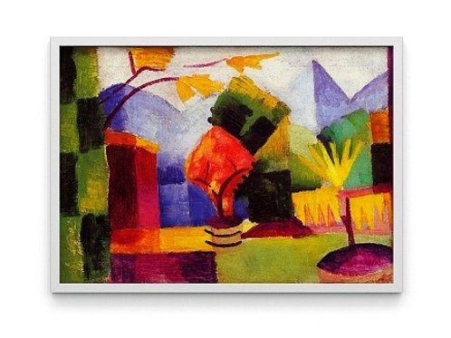 august macke, jardim no lago thun, Garden by the lake of Thun, quadro, reprodução, poster, canvas, gravura, replica, tela