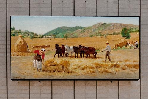 Pedro Weingartner, Ceifa em Anticoli Corrado, quadro, poster, replica, canvas, gravura, reprodução, tela,releitura, fototela