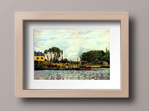 alfred sisley, Barcos em Bougival, boats at bougival, quadro, poster, replica, canvas, gravura, reprodução, tela, releitura