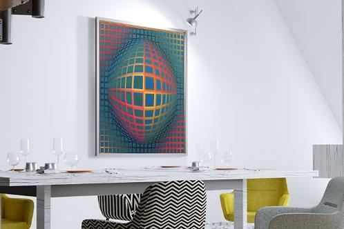 Quadro, Poster, Gravura, Op Art,Arte Ótica,ilusão ótica,3d,Minimalista, Canvas, bola colorida, abstrato, decorativo, fototela