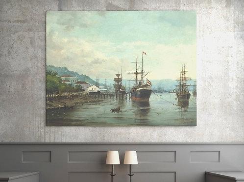 Benedito Calixto,Porto de Santos (visto à esquerda),poster,gravura,reprodução,réplica,canvas,releitura,tela,pintura