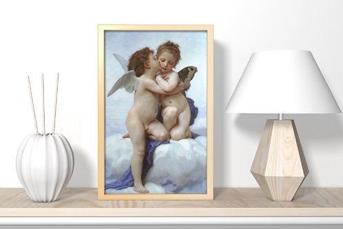 Bouguereau,Anjos,Guardiões,cupido,primeiro beijo,amor,quadro,poster,gravura,canvas,replica,reprodução,fototela,tela,pintura