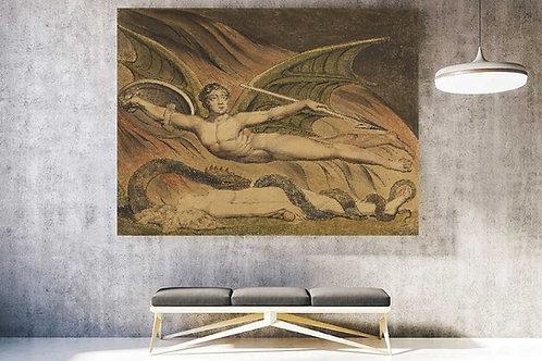 William Blake,Satanás exultando com Eva,Satan Exulting over Eve,quadro,canvas,poster,replica,gravura,reprodução,tela,pintura