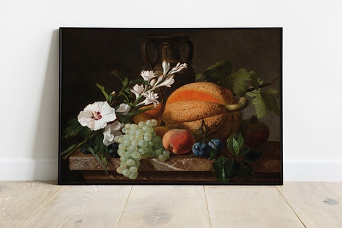 Antoine Berjon, Natureza Morta, still life, quadro, poster, gravura, reprodução, réplica, canvas, tela, pintura, frutas, flor