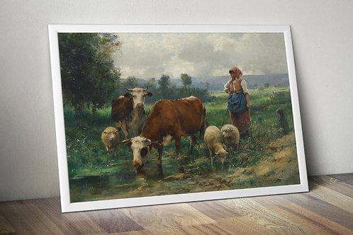 Julien Dupré, A Pastora com seu Rebanho,quadro, poster, replica, canvas, gravura, reprodução, tela, releitura, fototela