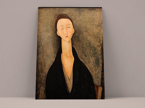 Modigliani,Retrato de Lunia Czechowska,poster,gravura,reprodução,réplica,canvas,releitura,tela,pintura
