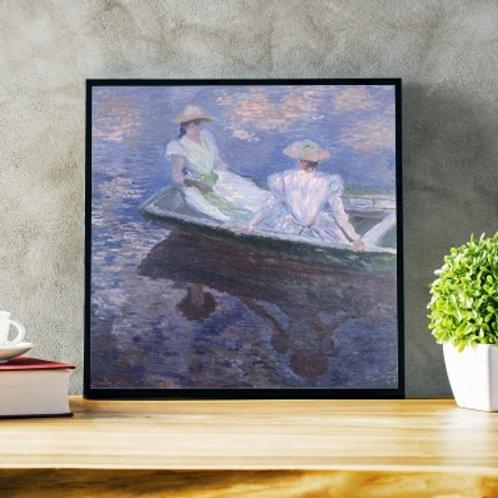 claude monet, Mulheres jovens em um barco, No Barco, Young Girls in a Row Boat, quadro, poster, replica, canvas, reprodução