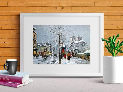 quadro paris, antoine blanchard, notre dame, igreja, quadro, poster, replica, gravura, reprodução, canvas, tela