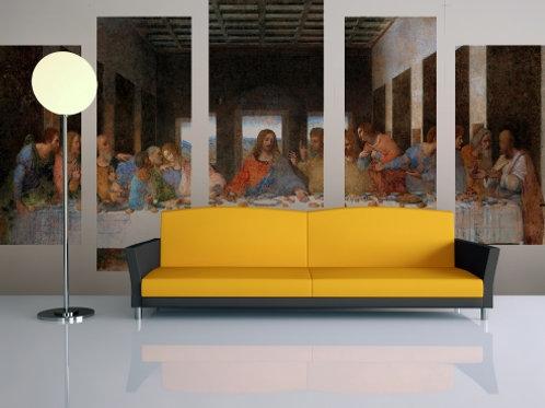 quadro decorativo dividido, Quadro Painel Mosaico Decorativo 5 Partes, santa ceia, ultima ceia, leonardo, da vinci, canvas