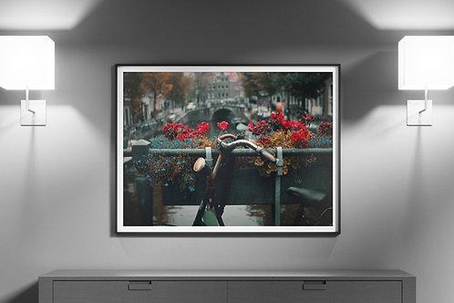 Cidade,Amsterdã,Canal,Flores,Bicicleta,Bike,quadro,poster,gravura,reprodução,réplica,canvas,tela,pintura,fine art