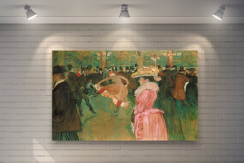 Toulouse Lautrec, No Moulin Rouge, A Dança, Baile no Moulin Rouge, poster, gravura, reprodução, canvas, replica, releitura