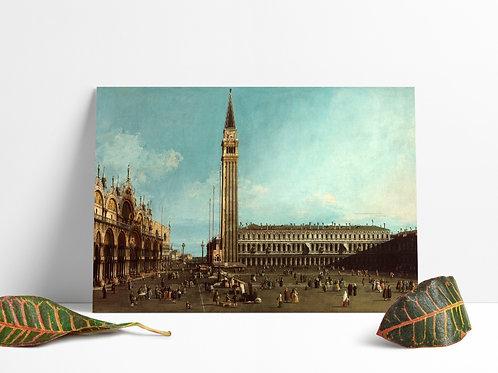 Canaletto,A Praça São Marcos,Veneza,The Piazza San Marco,Venice,quadro,poster,replica,gravura,canvas,reprodução,tela
