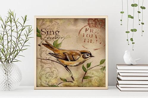 quadro passarinho, poster passarinho, gravura passarinho,tela decorativa,quadro, poster, gravura, reprodução, canvas, replica