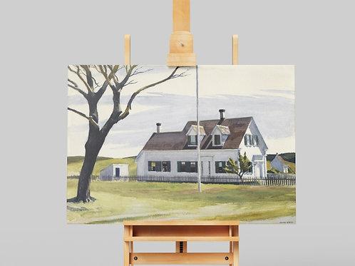 Edward Hopper,Árvore morta ao lado da Casa Lombard,realismo,poster,gravura,reprodução,réplica,canvas,releitura,tela,pintura