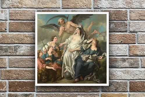 Jean-François de Troy,Uma Alegoria do Tempo Revelando a verdade,quadro,poster,canvas,reprodução,gravura,replica,pintura
