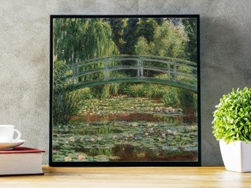 claude monet, A Ponte Japonesa sobre a Lagoa das Ninféias em Giverny, quadro, poster, replica, canvas, reprodução, gravura