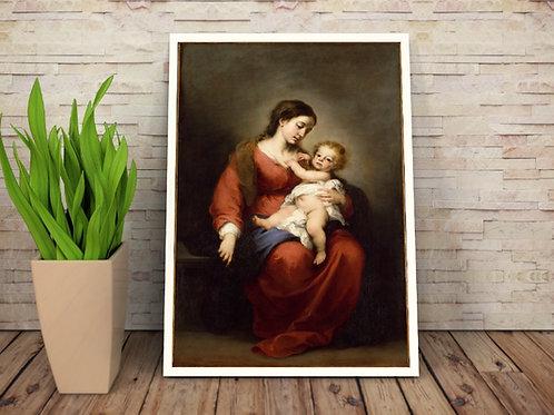 murillo,Virgem com Menino Jesus, religioso, anjos,santa,poster, gravura, reprodução, canvas, replica, fototela,tela,pintura